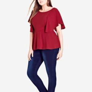 City Chic Trendy Plus Size Flutter-Sleeve Red